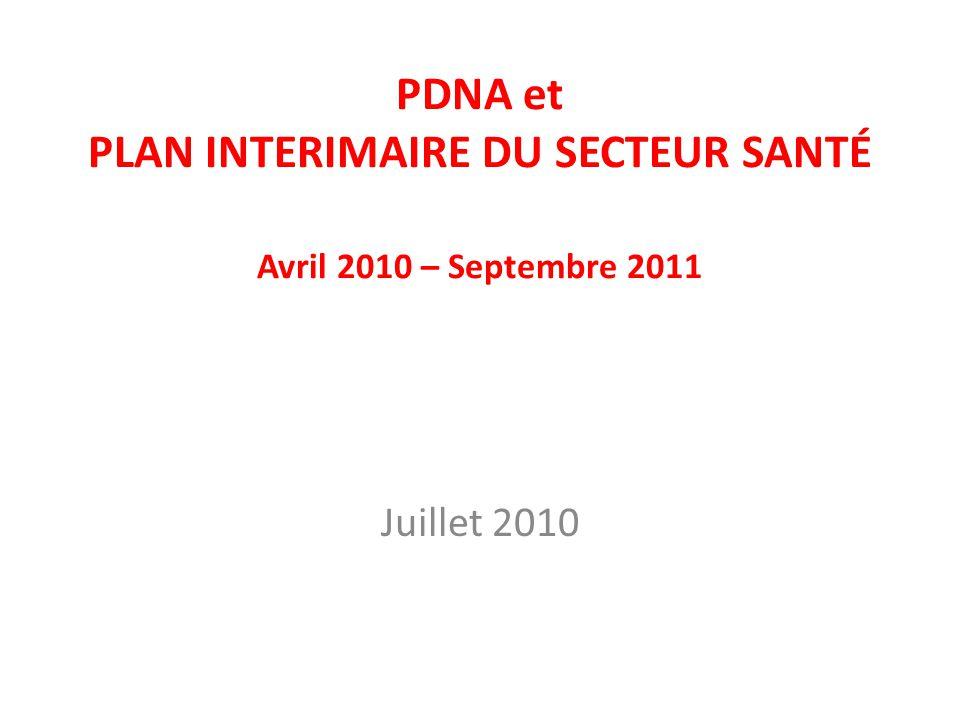 PDNA et PLAN INTERIMAIRE DU SECTEUR SANTÉ Avril 2010 – Septembre 2011 Juillet 2010