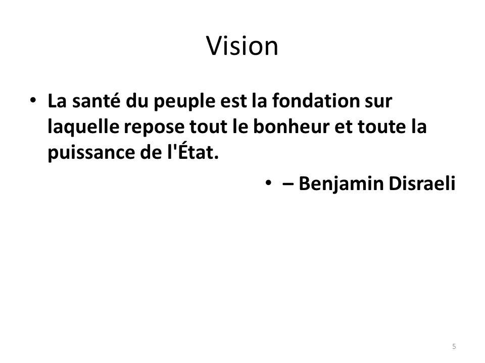Vision La santé du peuple est la fondation sur laquelle repose tout le bonheur et toute la puissance de l État.