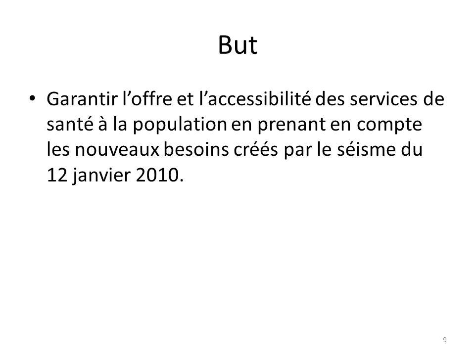 But Garantir l'offre et l'accessibilité des services de santé à la population en prenant en compte les nouveaux besoins créés par le séisme du 12 janvier 2010.
