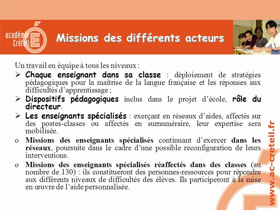 Missions des différents acteurs Un travail en équipe à tous les niveaux :  Chaque enseignant dans sa classe : déploiement de stratégies pédagogiques