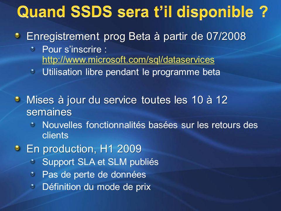 Enregistrement prog Beta à partir de 07/2008 Pour s'inscrire : http://www.microsoft.com/sql/dataservices http://www.microsoft.com/sql/dataservices Utilisation libre pendant le programme beta Mises à jour du service toutes les 10 à 12 semaines Nouvelles fonctionnalités basées sur les retours des clients En production, H1 2009 Support SLA et SLM publiés Pas de perte de données Définition du mode de prix