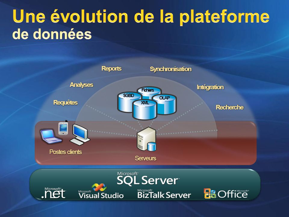 Postes clients OLAP Fichiers XML SGBD Serveurs Services de données Requêtes Analyses Reports Intégration Synchronisation Recherche