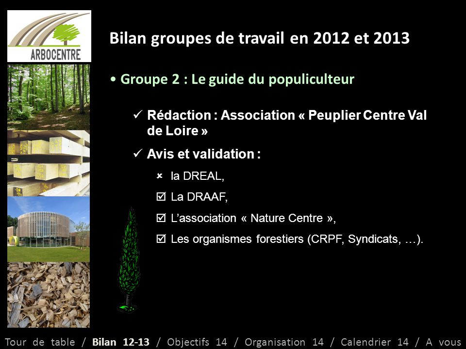 Bilan groupes de travail en 2012 et 2013 Groupe 2 : Le guide du populiculteur Rédaction : Association « Peuplier Centre Val de Loire » Avis et validation :  la DREAL,  La DRAAF,  L'association « Nature Centre »,  Les organismes forestiers (CRPF, Syndicats, …).
