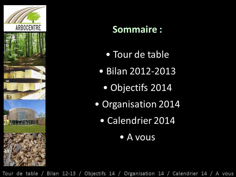 Tour de table / Bilan 12-13 / Objectifs 14 / Organisation 14 / Calendrier 14 / A vous Sommaire : Tour de table Bilan 2012-2013 Objectifs 2014 Organisation 2014 Calendrier 2014 A vous