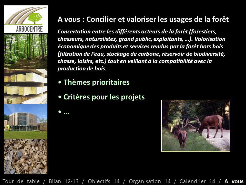 A vous : Concilier et valoriser les usages de la forêt Concertation entre les différents acteurs de la forêt (forestiers, chasseurs, naturalistes, grand public, exploitants,...).