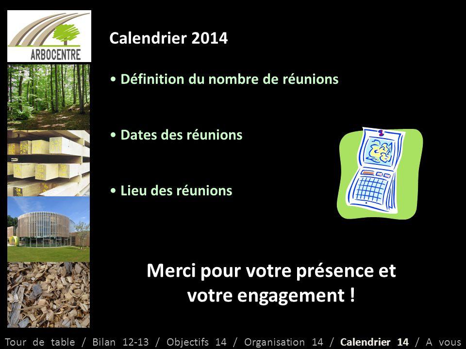 Calendrier 2014 Définition du nombre de réunions Dates des réunions Lieu des réunions Tour de table / Bilan 12-13 / Objectifs 14 / Organisation 14 / Calendrier 14 / A vous Merci pour votre présence et votre engagement !