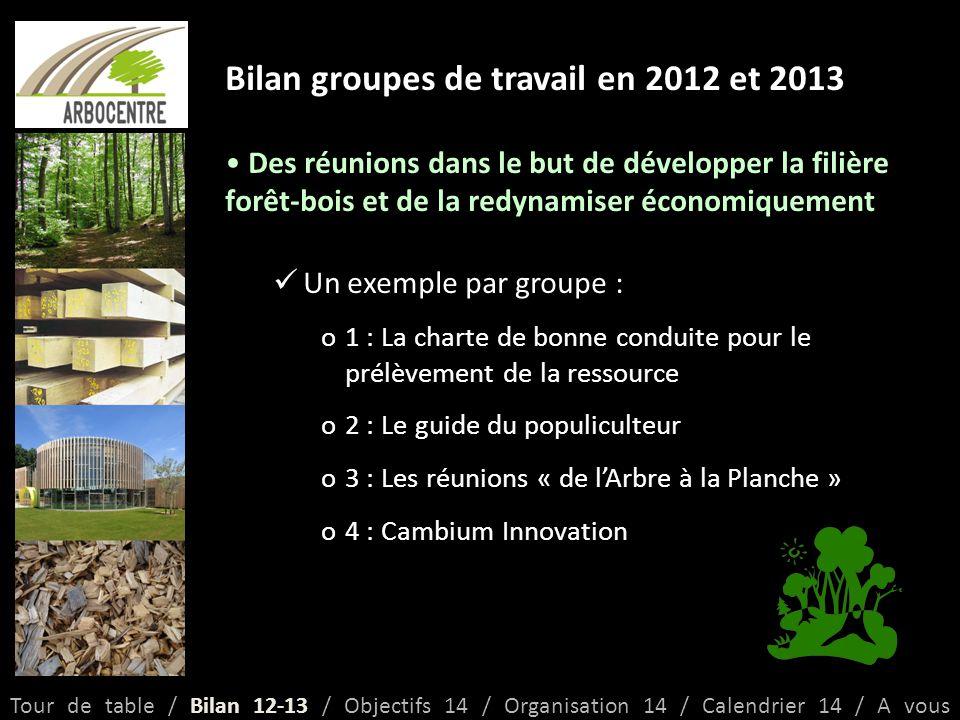 Bilan groupes de travail en 2012 et 2013 Des réunions dans le but de développer la filière forêt-bois et de la redynamiser économiquement Un exemple par groupe : o1 : La charte de bonne conduite pour le prélèvement de la ressource o2 : Le guide du populiculteur o3 : Les réunions « de l'Arbre à la Planche » o4 : Cambium Innovation Tour de table / Bilan 12-13 / Objectifs 14 / Organisation 14 / Calendrier 14 / A vous