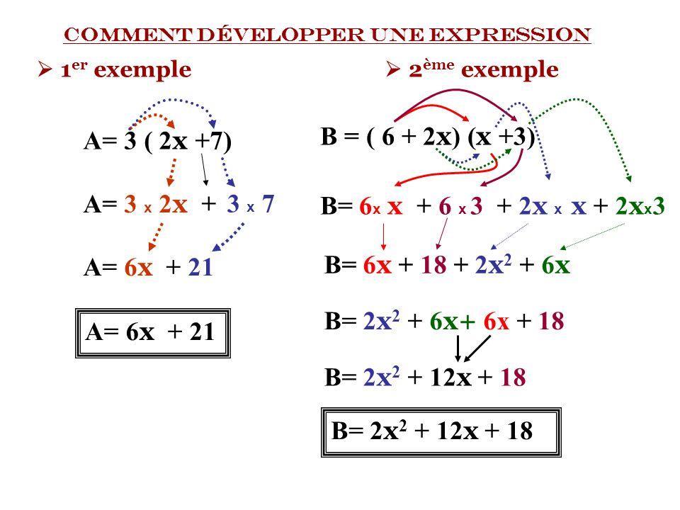 Comment développer une expression  1 er exemple A= 3 ( 2 x + 7) A= 3 x 2 x A= 6 x + 21 + 3 x 7 A= 6 x + 21  2 ème exemple B = ( 6 + 2 x ) ( x +3) B=