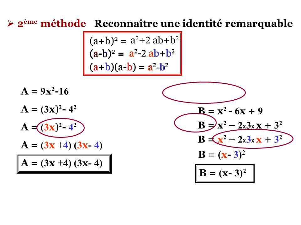  3 ème méthode Faire des regroupements afin qu'apparaisse un facteur commun Eventuellement combiner les 2 méthodes précédentes A = 8 + a + 8 b + ab A = 8 + a + b ( 8 + a) A = ( 8 + a) + b ( 8 + a) A = ( 8 + a) x 1 + b ( 8 + a) A = ( 8 + a) x ( 1 + b) A = ( 8 + a) ( 1 + b) A = 8 + 8 b + a+ ab A = 8 + a + 8 b + ab A = 8 ( 1 + b) + a+ ab A = ( 1 + b) ( 8 + a) A = 8 ( 1 + b) + a( 1+ b) A = ( 1 + b) ( 8 + a) A = ( 8 + a) ( 1 + b) Etc……..