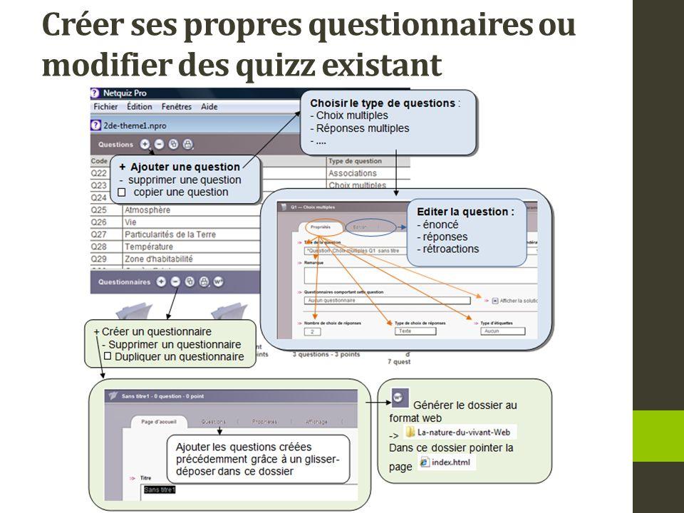 Créer ses propres questionnaires ou modifier des quizz existant