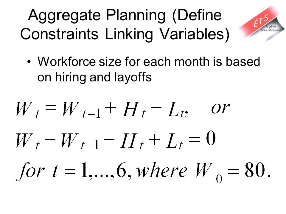 Aggregate Planning (Define Constraints Linking Variables) Workforce size for each month is based on hiring and layoffs