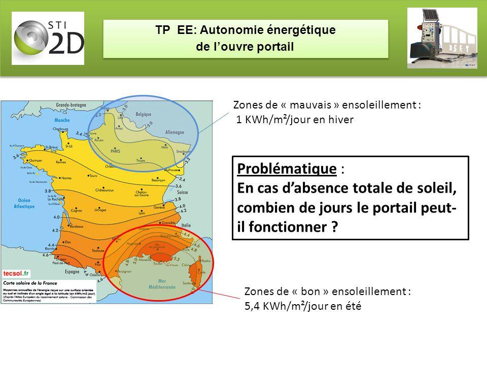 TP EE: Autonomie énergétique de l'ouvre portail TP EE: Autonomie énergétique de l'ouvre portail Zones de « mauvais » ensoleillement : 1 KWh/m²/jour en