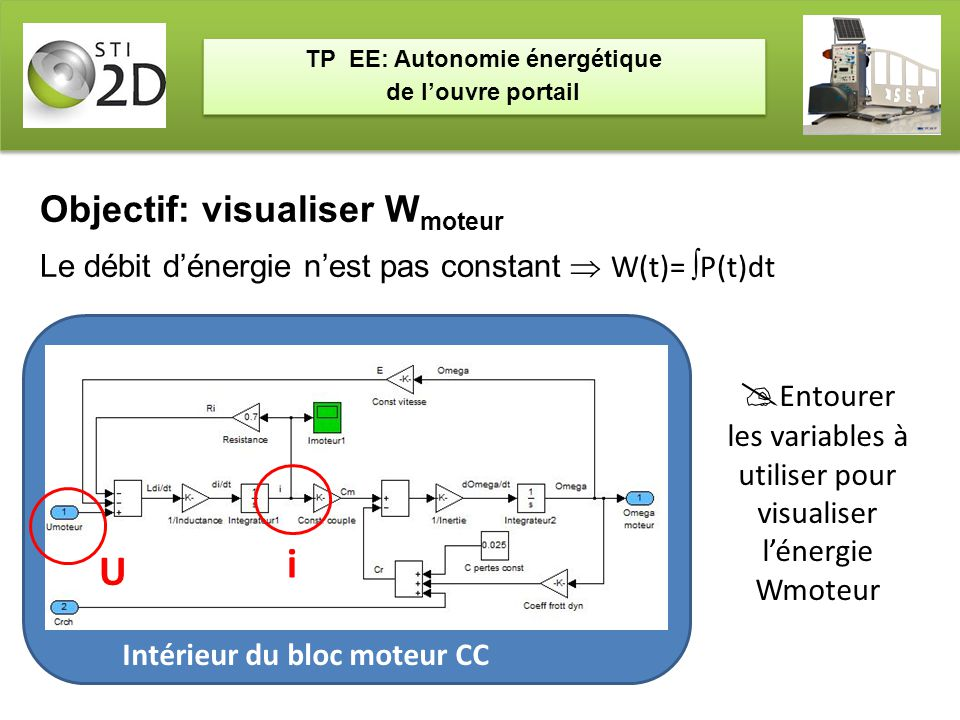 TP EE: Autonomie énergétique de l'ouvre portail TP EE: Autonomie énergétique de l'ouvre portail Objectif: visualiser W moteur Le débit d'énergie n'est