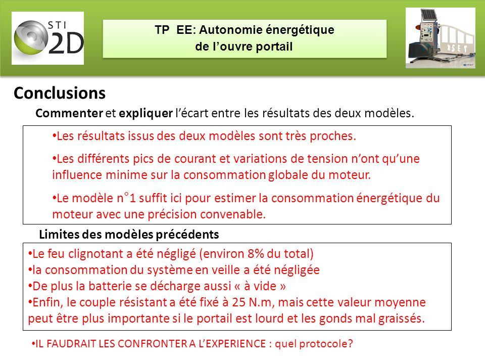 TP EE: Autonomie énergétique de l'ouvre portail TP EE: Autonomie énergétique de l'ouvre portail Conclusions Les résultats issus des deux modèles sont