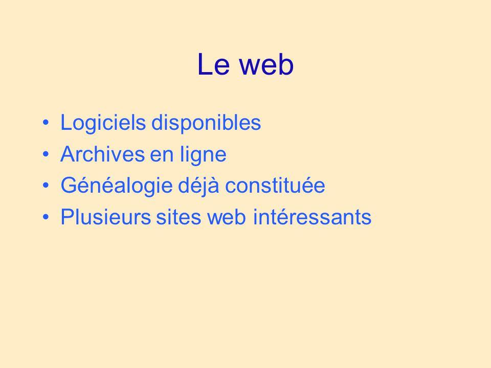 Le web Logiciels disponibles Archives en ligne Généalogie déjà constituée Plusieurs sites web intéressants