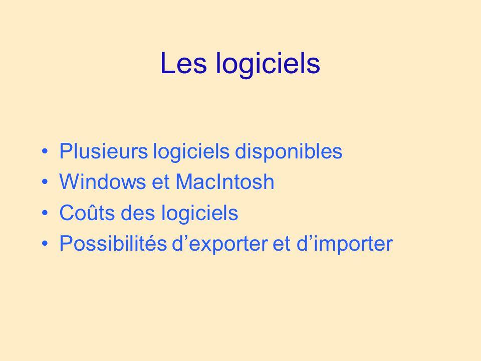 Les logiciels Plusieurs logiciels disponibles Windows et MacIntosh Coûts des logiciels Possibilités d'exporter et d'importer