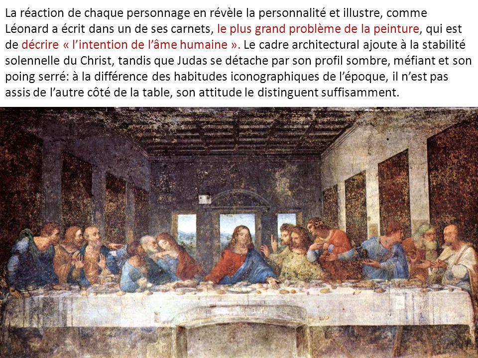 La réaction de chaque personnage en révèle la personnalité et illustre, comme Léonard a écrit dans un de ses carnets, le plus grand problème de la pei