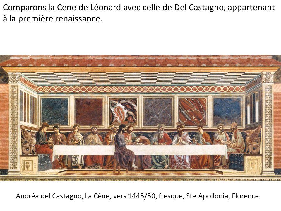 Andréa del Castagno, La Cène, vers 1445/50, fresque, Ste Apollonia, Florence Comparons la Cène de Léonard avec celle de Del Castagno, appartenant à la