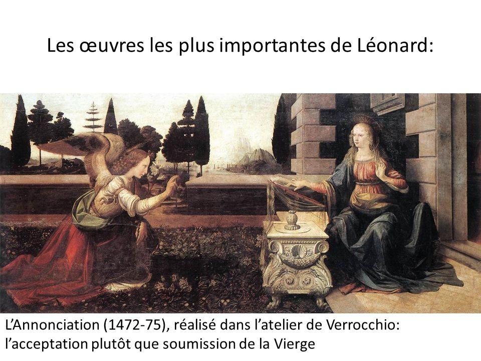 Les œuvres les plus importantes de Léonard: L'Annonciation (1472-75), réalisé dans l'atelier de Verrocchio: l'acceptation plutôt que soumission de la
