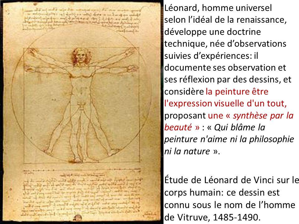 Étude de Léonard de Vinci sur le corps humain: ce dessin est connu sous le nom de l'homme de Vitruve, 1485-1490. Léonard, homme universel selon l'idéa
