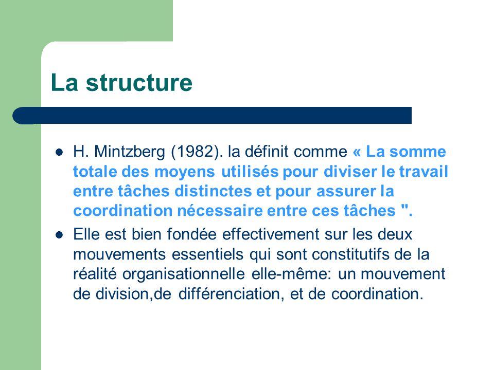 H. Mintzberg (1982). la définit comme « La somme totale des moyens utilisés pour diviser le travail entre tâches distinctes et pour assurer la coordin