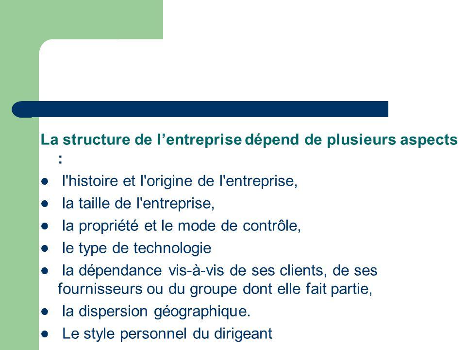 La structure de l'entreprise dépend de plusieurs aspects : l'histoire et l'origine de l'entreprise, la taille de l'entreprise, la propriété et le mode
