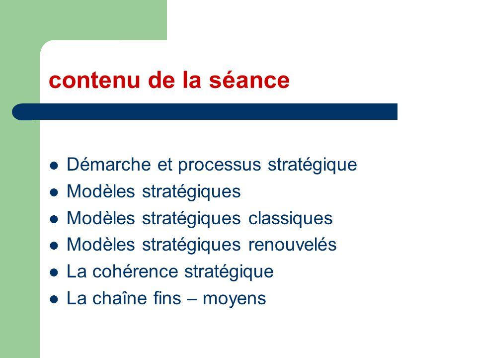 contenu de la séance Démarche et processus stratégique Modèles stratégiques Modèles stratégiques classiques Modèles stratégiques renouvelés La cohéren