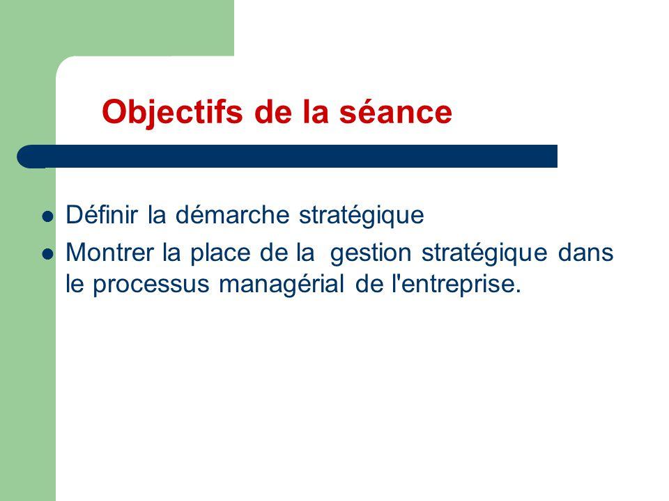 Objectifs de la séance Définir la démarche stratégique Montrer la place de la gestion stratégique dans le processus managérial de l'entreprise.