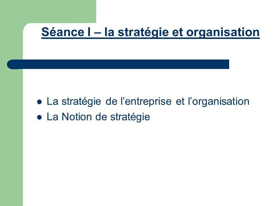 Séance I – la stratégie et organisation La stratégie de l'entreprise et l'organisation La Notion de stratégie