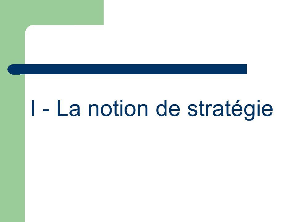I - La notion de stratégie