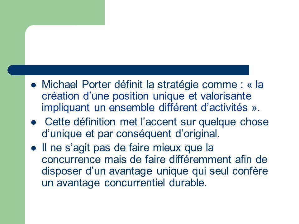 Michael Porter définit la stratégie comme : « la création d'une position unique et valorisante impliquant un ensemble différent d'activités ». Cette d