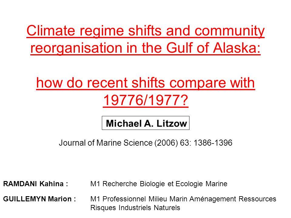 DEFINITIONS : Regime shift : (= phase shift) Face à un changement graduel d un paramètre physico-chimique ou biologique de l environnement, la réponse de la population ou de l écosystème peut ne pas être graduelle, mais par sauts (sudden catastrophic change) (Rietkerk et al., 2004) Ce saut est le regime shift.