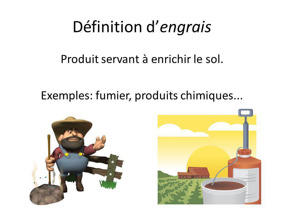 Définition d'engrais Produit servant à enrichir le sol. Exemples: fumier, produits chimiques...