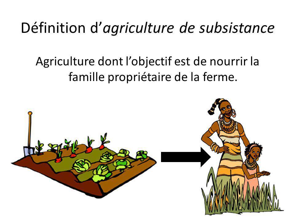 Définition d'agriculture de subsistance Agriculture dont l'objectif est de nourrir la famille propriétaire de la ferme.