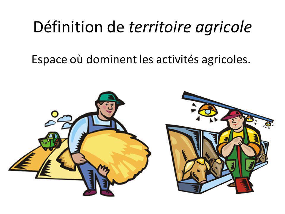 Définition de territoire agricole Espace où dominent les activités agricoles.
