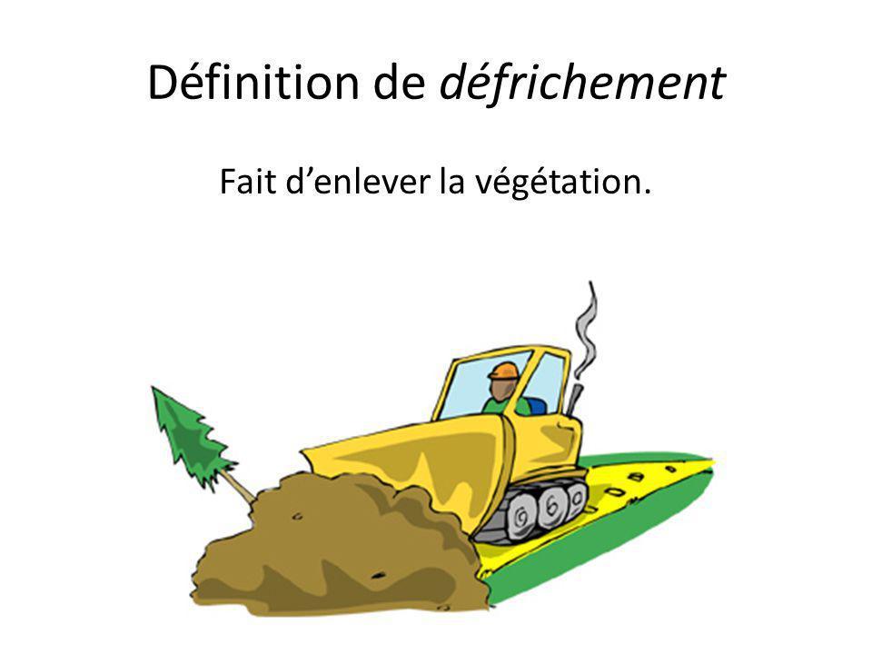Définition de défrichement Fait d'enlever la végétation.