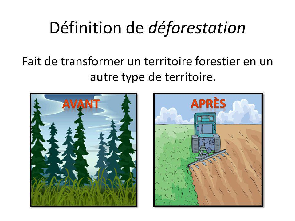 Définition de déforestation Fait de transformer un territoire forestier en un autre type de territoire.