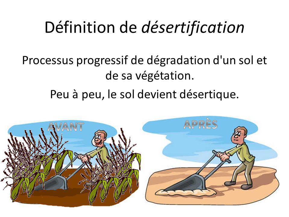 Définition de désertification Processus progressif de dégradation d'un sol et de sa végétation. Peu à peu, le sol devient désertique.