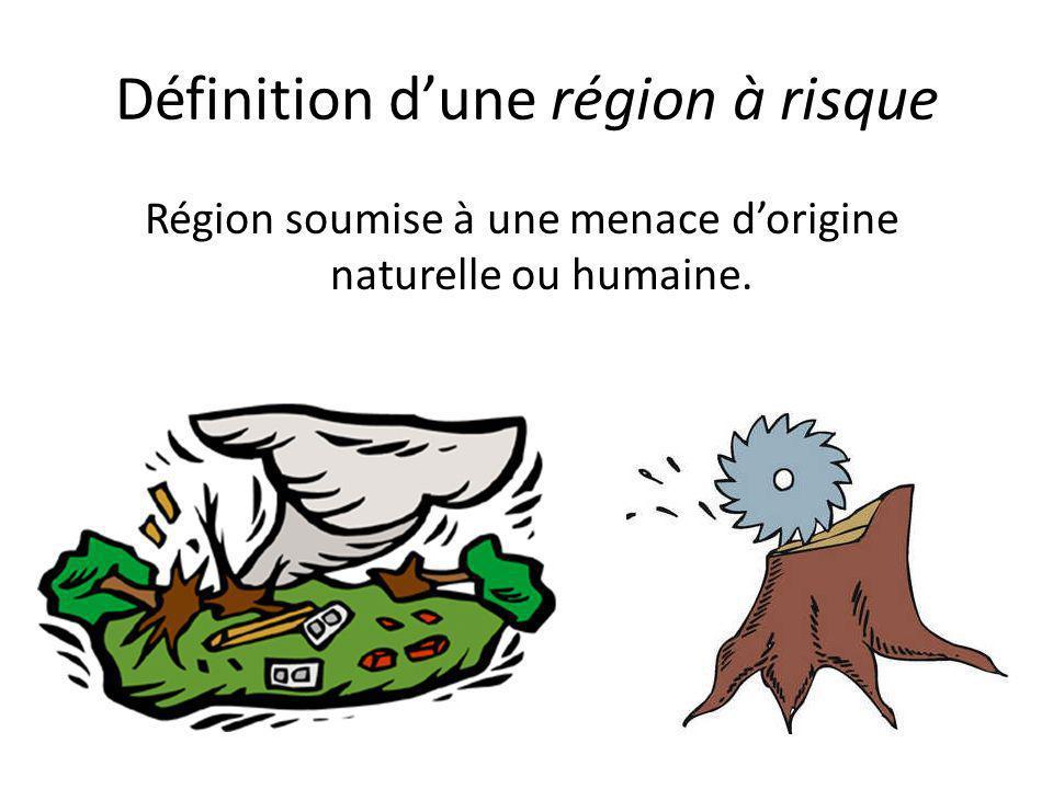 Définition d'une région à risque Région soumise à une menace d'origine naturelle ou humaine.