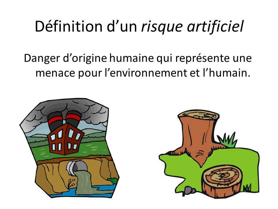 Définition d'un risque artificiel Danger d'origine humaine qui représente une menace pour l'environnement et l'humain.