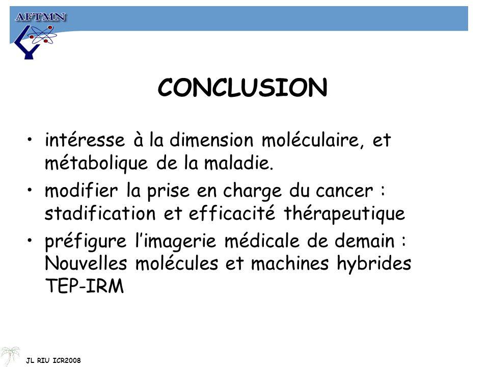 CONCLUSION intéresse à la dimension moléculaire, et métabolique de la maladie. modifier la prise en charge du cancer : stadification et efficacité thé