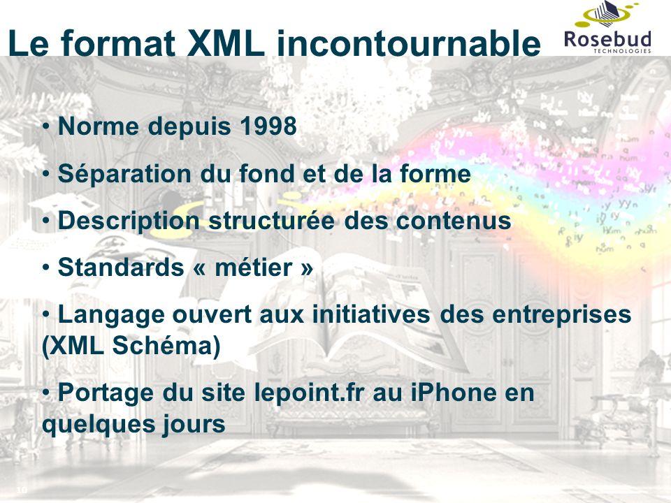 10 Norme depuis 1998 Séparation du fond et de la forme Description structurée des contenus Standards « métier » Langage ouvert aux initiatives des entreprises (XML Schéma) Portage du site lepoint.fr au iPhone en quelques jours Le format XML incontournable