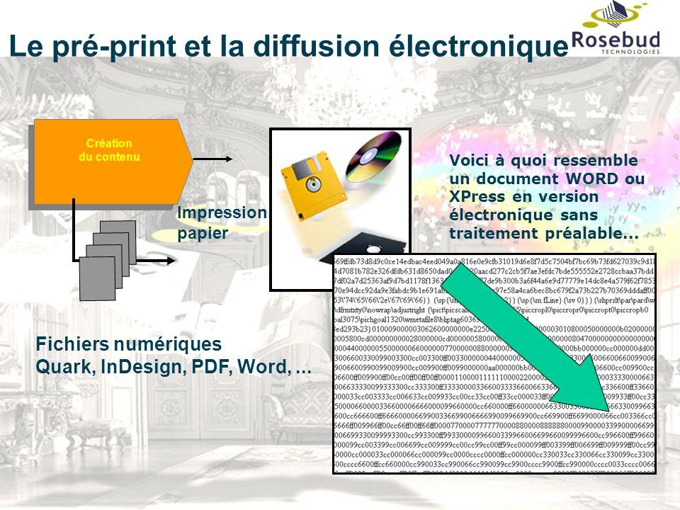 12 Le pré-print et la diffusion électronique Création du contenu Création du contenu Voici à quoi ressemble un document WORD ou XPress en version élec