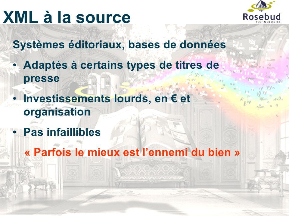 16 XML à la source Systèmes éditoriaux, bases de données Adaptés à certains types de titres de presse Investissements lourds, en € et organisation Pas
