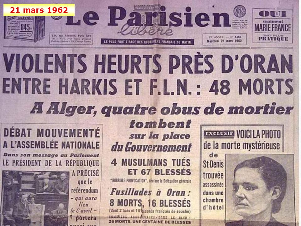 18 mars 1962 Signature des accords d'Evian: le cessez-le-feu