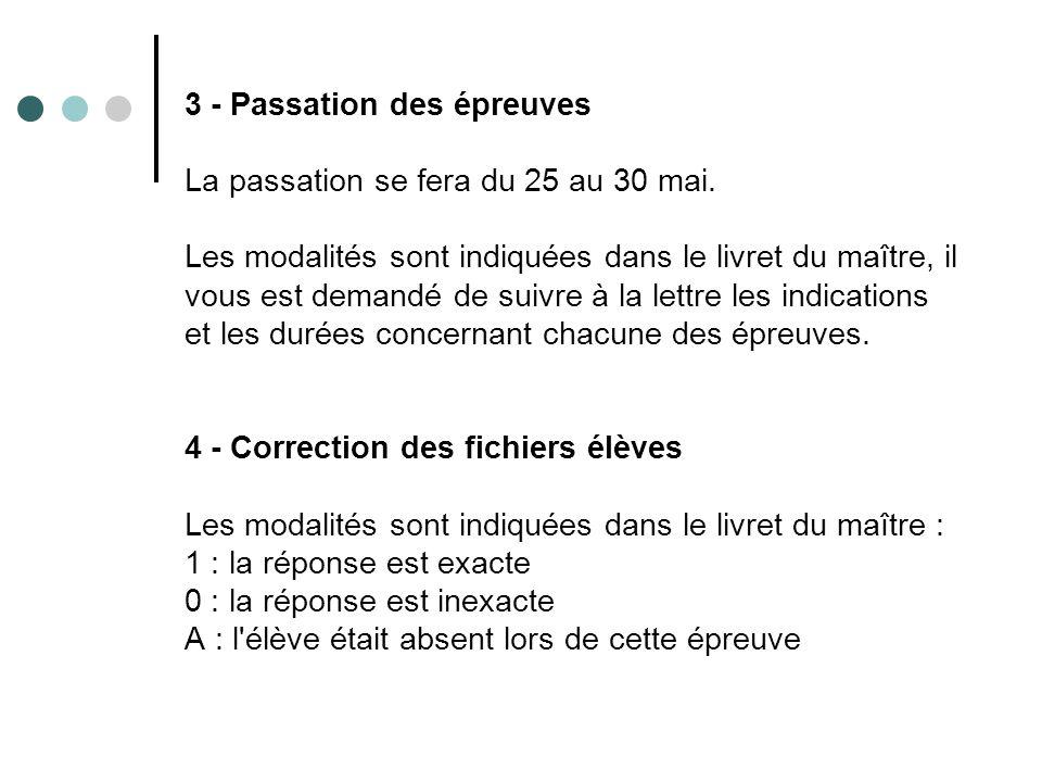 3 - Passation des épreuves La passation se fera du 25 au 30 mai.
