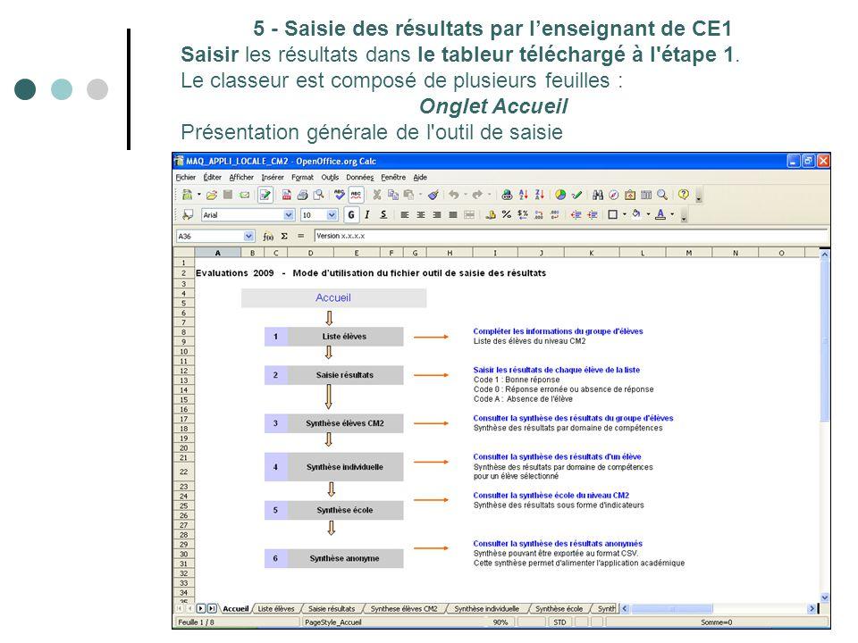 5 - Saisie des résultats par l'enseignant de CE1 Saisir les résultats dans le tableur téléchargé à l étape 1.