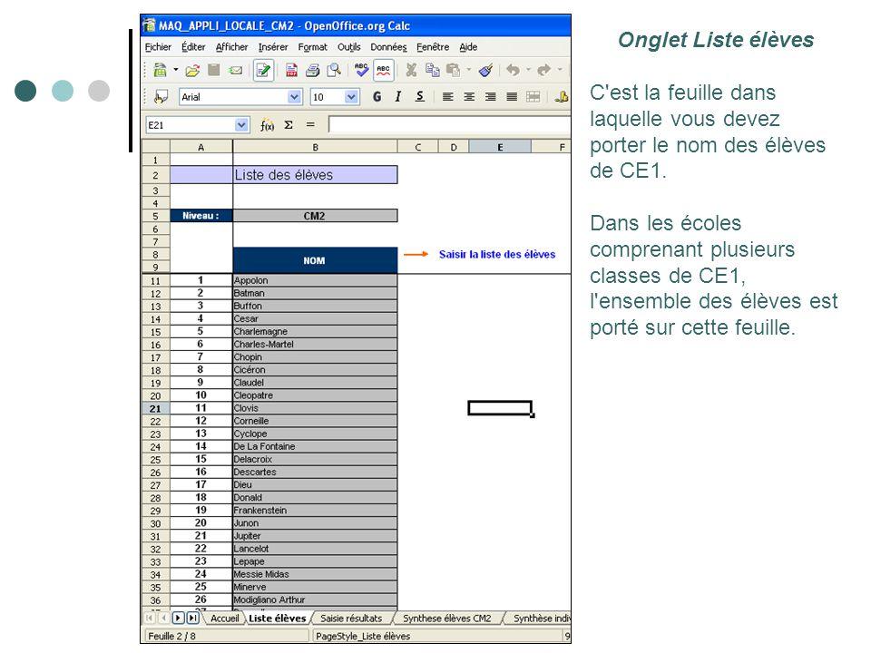 Onglet Liste élèves C est la feuille dans laquelle vous devez porter le nom des élèves de CE1.