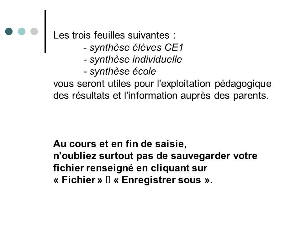 Les trois feuilles suivantes : - synthèse élèves CE1 - synthèse individuelle - synthèse école vous seront utiles pour l exploitation pédagogique des résultats et l information auprès des parents.