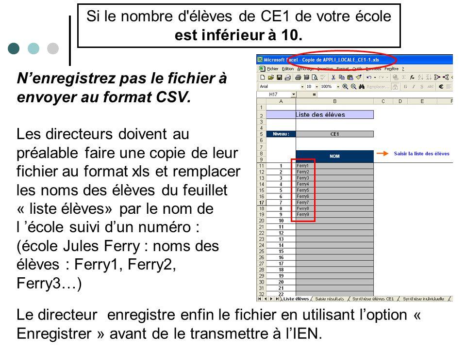 N'enregistrez pas le fichier à envoyer au format CSV.